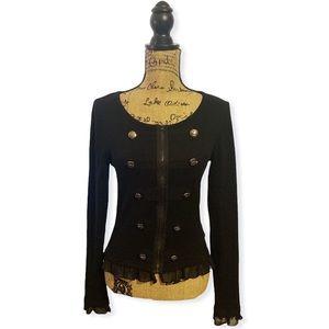 Forever 21 black zip cardigan sweater military M